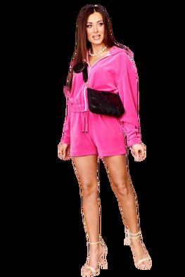 Me Gusta dres welurowy komplet różowy