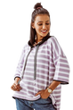 COCOMORE Sweter Bluza paski fiolet kaptur (1)